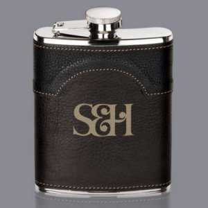 Two-tone stitched leatherette case covers our silver metal Regent Hip Flask for a stylish look
