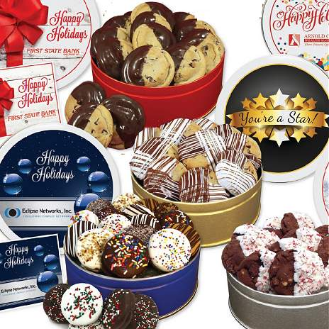 Add your company logo to these custom cookie gifts , in tins, and other types of logo packaging